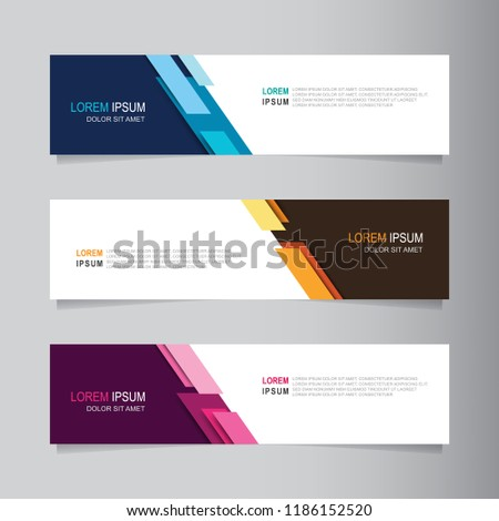 Vector abstract banner design web template. Collection of web banner template. Abstract geometric web design banner template isolated on grey background. Header - landing page Web Design Elements #1186152520