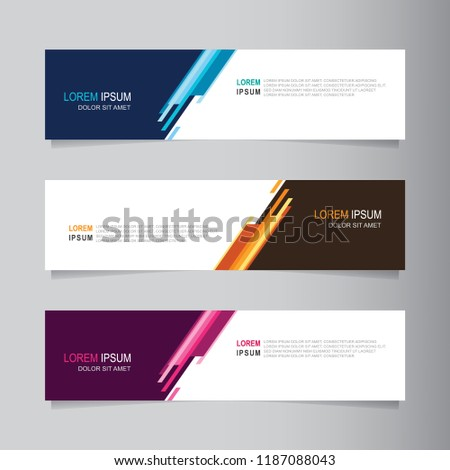 Vector abstract banner design web template. Collection of web banner template. Abstract geometric web design banner template isolated on grey background. Header - landing page Web Design Elements #1187088043