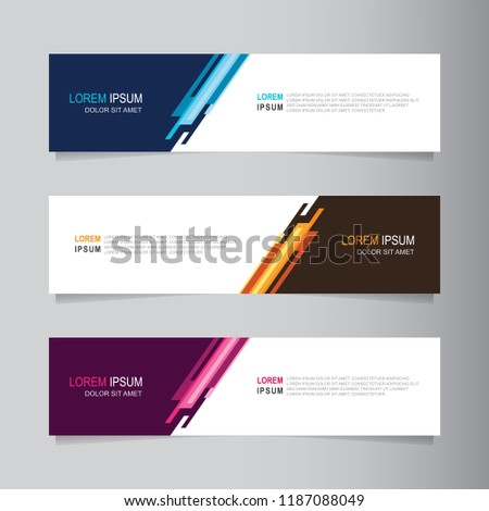 Vector abstract banner design web template. Collection of web banner template. Abstract geometric web design banner template isolated on grey background. Header - landing page Web Design Elements #1187088049