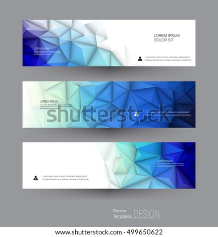 Vector abstract banners set with polygonal, Geometric, Triangle pattern shape. Abstract polygonal ( low poly ) with blank space. Polygon vector background for web banner template or brochure #499650622