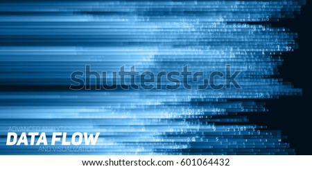 Vector abstract big data visualization. Blue flow of data as numbers strings. Information code representation. Cryptographic analysis. Bitcoin, blockchain transfer. Stream of encoded data.