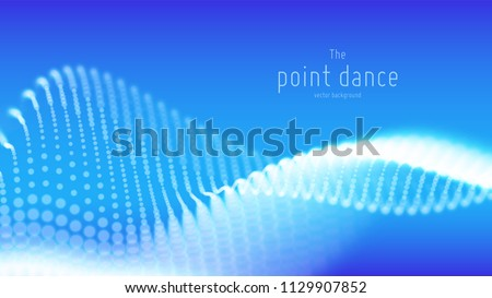 Vector abstract blue particle wave, points array, shallow depth of field. Futuristic illustration. Technology digital splash or explosion of data points. Point dance waveform. Cyber UI, HUD element