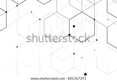 Vector abstract boxes background. Modern technology illustration with square mesh. Digital geometric abstraction with lines and points. Cube cell. #681367291