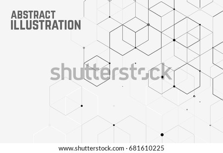 Vector abstract boxes background. Modern technology illustration with square mesh. Digital geometric abstraction with lines and points. Cube cell. #681610225