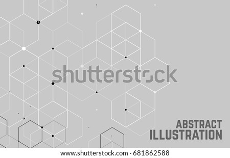 Vector abstract boxes background. Modern technology illustration with square mesh. Digital geometric abstraction with lines and points. Cube cell. #681862588