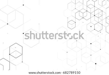 Vector abstract boxes background. Modern technology illustration with square mesh. Digital geometric abstraction with lines and points. Cube cell. #682789150