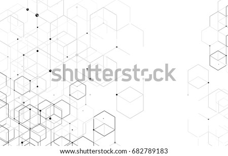 Vector abstract boxes background. Modern technology illustration with square mesh. Digital geometric abstraction with lines and points. Cube cell. #682789183