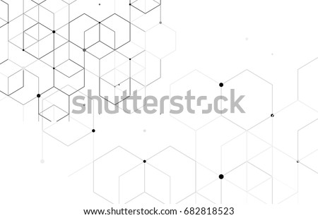Vector abstract boxes background. Modern technology illustration with square mesh. Digital geometric abstraction with lines and points. Cube cell. #682818523