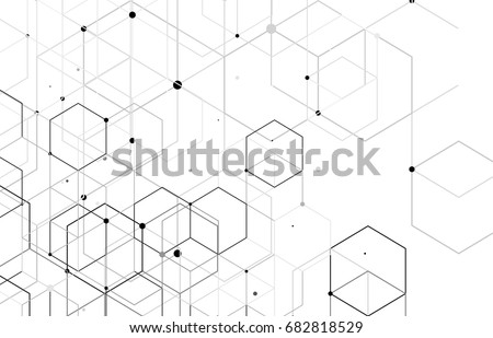 Vector abstract boxes background. Modern technology illustration with square mesh. Digital geometric abstraction with lines and points. Cube cell. #682818529