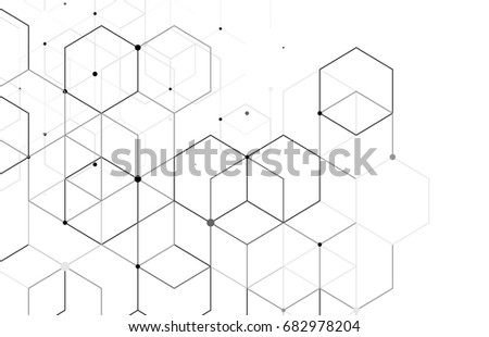 Vector abstract boxes background. Modern technology illustration with square mesh. Digital geometric abstraction with lines and points. Cube cell. #682978204