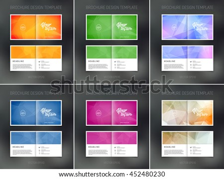 Vector abstract brochure design templates collection. Two-page spreads.