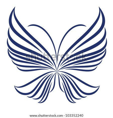 Vector abstract butterfly illustration of icon simply butterfly