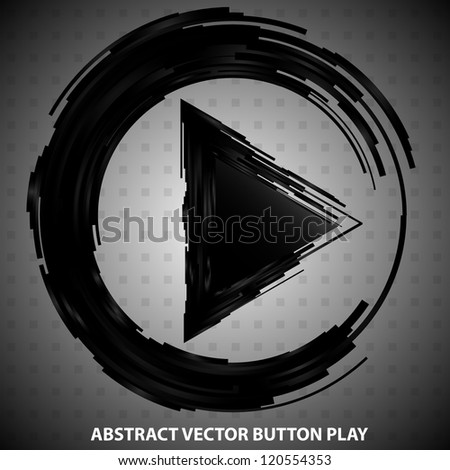 Vector abstract button PLAY - Black design element