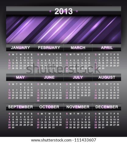 Vector abstract calendar 2013