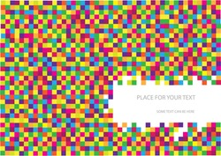 Vector Abstract Checkered Background with Place for Your Text.Colorful Mosaic Tiles Background.Color Vector Bright Squares Wallpaper.