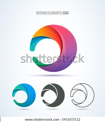 Vector abstract circle swirl logo design elements. Origami paper style, flat, line art