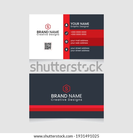 Vector abstract Clean and simple Business Card Template, Modern horizontal name card,  Flat Style Vector Illustration. Stationery Design and visiting card, Creative and professional business card.