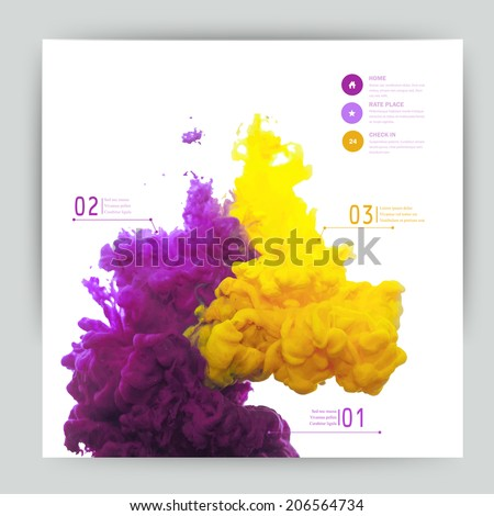 Vector abstract cloud. Ink swirling in water, cloud of ink in water isolated on white. Abstract banner paints. Holi.Banner for your design