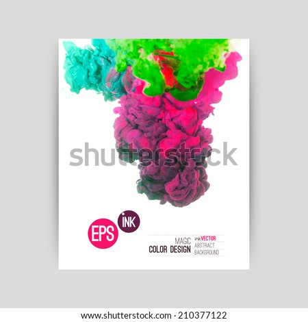 Vector abstract cloud. Ink swirling in water, cloud of ink in water isolated on white. Abstract banner paints. Holi.