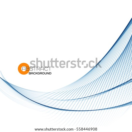 Vector Abstract color blue wave design element.  Business or science background