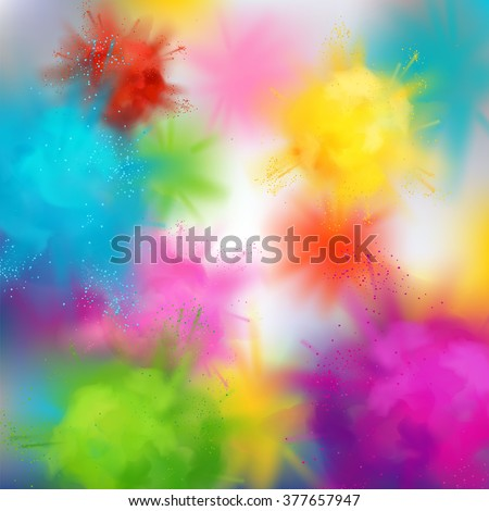 Vector abstract colorful background on spring festival of colors. Multicolored concept illustration with realistic clouds of Holi paint powder