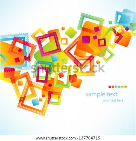 Vector abstract colorful background - postage stamps collection