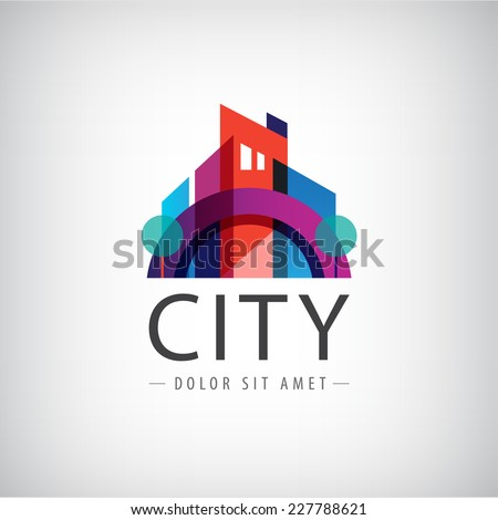 vector abstract colorful city, building composition sign, icon, logo isolated