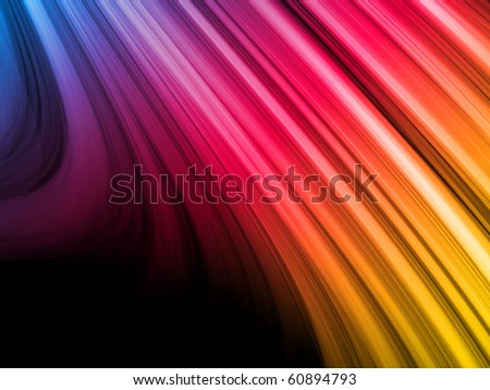 Vector - Abstract Colorful Waves on Black Background