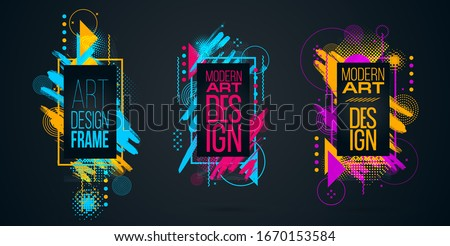 Vector abstract composition illustration. graphic frame design for text in style of modern art, mixture of brush and minimalist geometry. Bauhaus vector graphic design flyers, brochures, cards, covers