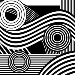 Vector abstract composition. Striped black and white background.