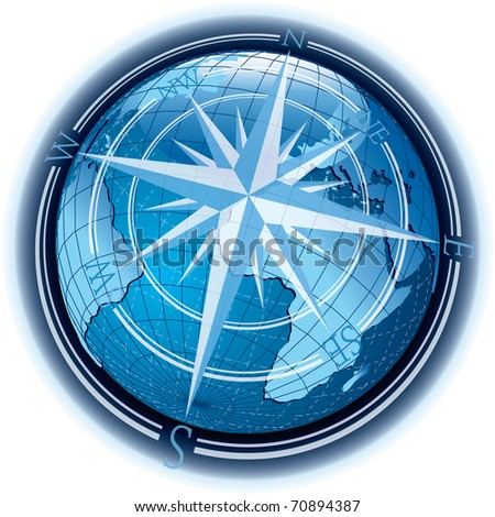 vector abstract composition with globe and wind-rose