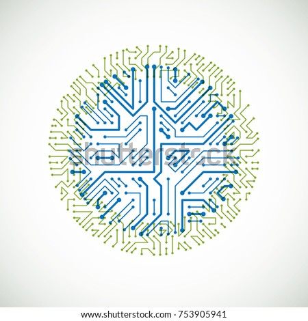 Vector abstract computer circuit board colorful illustration, green and blue round technology element with connections. Electronics theme web design.