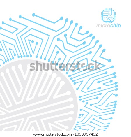 Vector abstract computer circuit board illustration, technology element with connections. Electronics theme web design. Modern technology communication.
