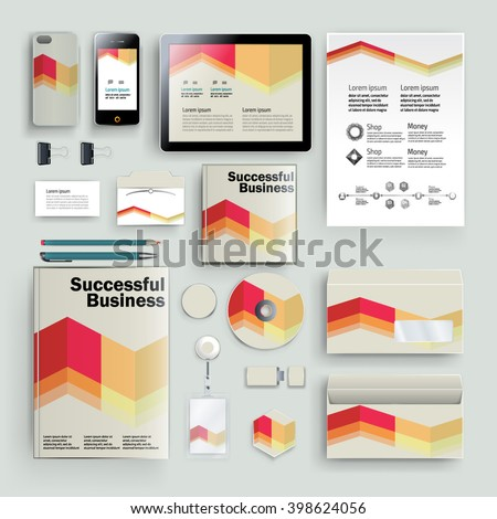 Vector abstract creative business template (set for business artworks) #398624056