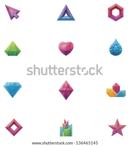 Vector Abstract Crystal Icon Set. Includes Crystallized Triangle ...