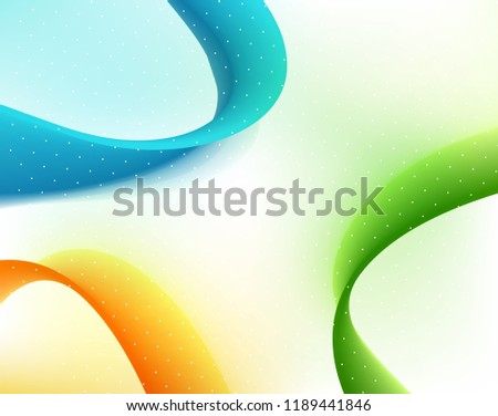 Vector Abstract curved lines background. Template brochure design. Color flow wave