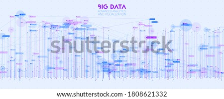 Vector abstract 3D big data visualization. Futuristic infographics aesthetic design. Visual information complexity. Intricate data threads plot. Social network or business analytics representation. ストックフォト ©