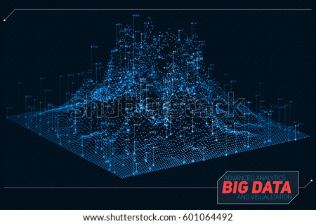Vector abstract 3D big data visualization. Futuristic infographics aesthetic design. Visual information complexity. Intricate data threads graphic. Social network or business analytics representation