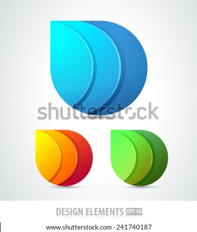 Vector abstract 3d drop logo design elements. Origami. Corporate identity.