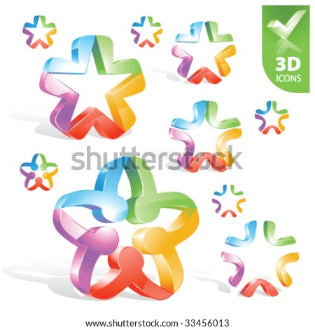 Vector abstract 3D icons 1