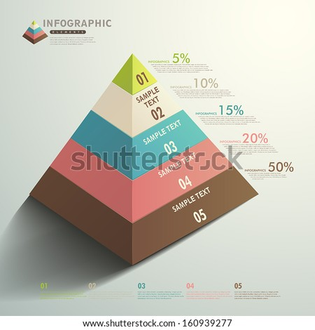 vector abstract 3d Pyramid type infographic elements