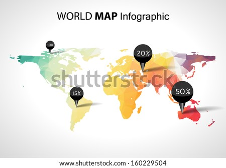 Vector abstract 3d world map, pins. Australia, asia africa usa. Globe world map vector concept icon