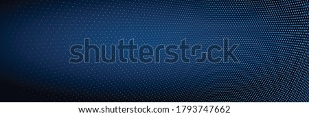 Vector abstract dark blue dotted background with dimensional perspective, technology and science theme, big data flow, geometric 3D design. Photo stock ©