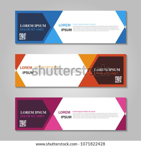 Vector abstract design web banner template.Abstract geometric web banner template on grey background. collection of web banner design template. #1071822428
