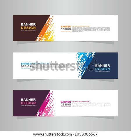 Vector abstract design web banner template. Web Design Elements - Header Design. Abstract geometric web banner template on grey background. collection of web banner design template. #1033306567