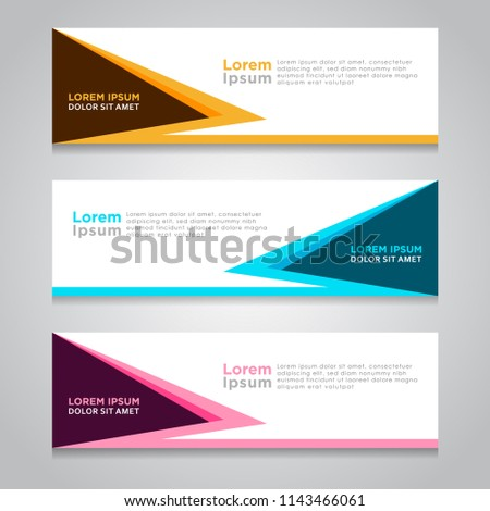 Vector abstract design web banner template. Web Design Elements - Header Design. Abstract geometric web banner template on grey background. collection of web banner design template. #1143466061