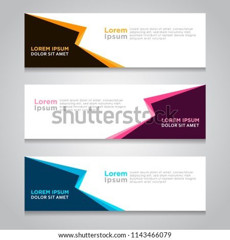 Vector abstract design web banner template. Web Design Elements - Header Design. Abstract geometric web banner template on grey background. collection of web banner design template. #1143466079
