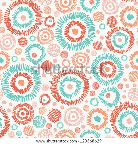 Vector abstract Doodle textured circles seamless pattern background with many hand drawn ornamental oval shapes