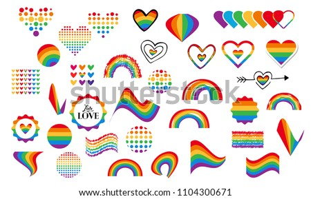Vector abstract doodles seamless pattern. Hand written pride, love, peace lettering with rainbow. Gay parade slogan. LGBT rights symbol. Isolated.