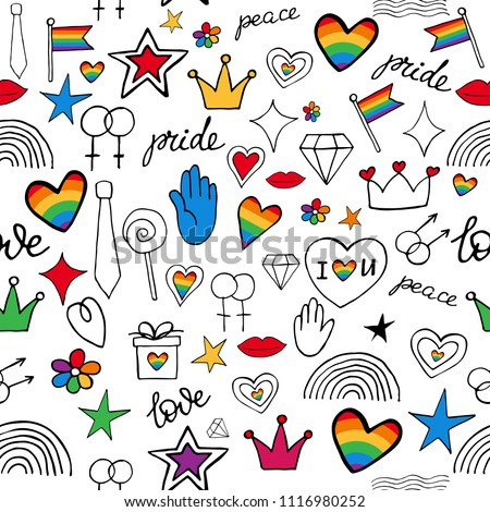 Vector abstract doodles seamless pattern. Hand written pride, love, peace lettering with rainbow. Gay parade slogan. LGBT rights symbol. Isolated. Background, pattern,fabric, textile.